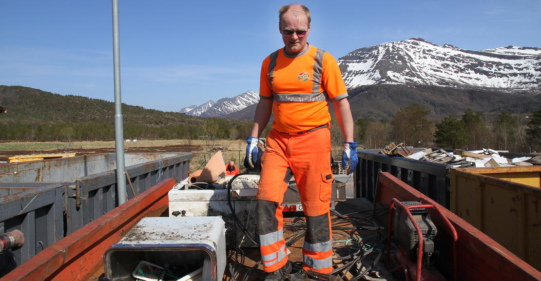 Plassjef Bård Olsen på Miljøtorg Furulund i Steigen.